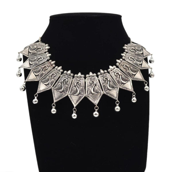 Ethnic design Chocker in Silver Oxidise Necklace