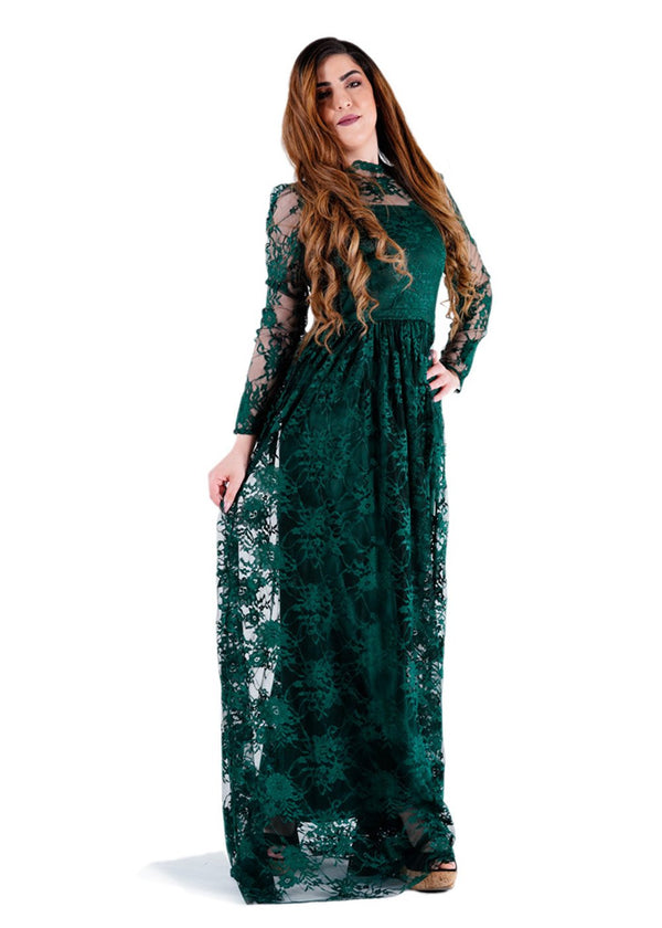 Full Sleeves Green Maxi