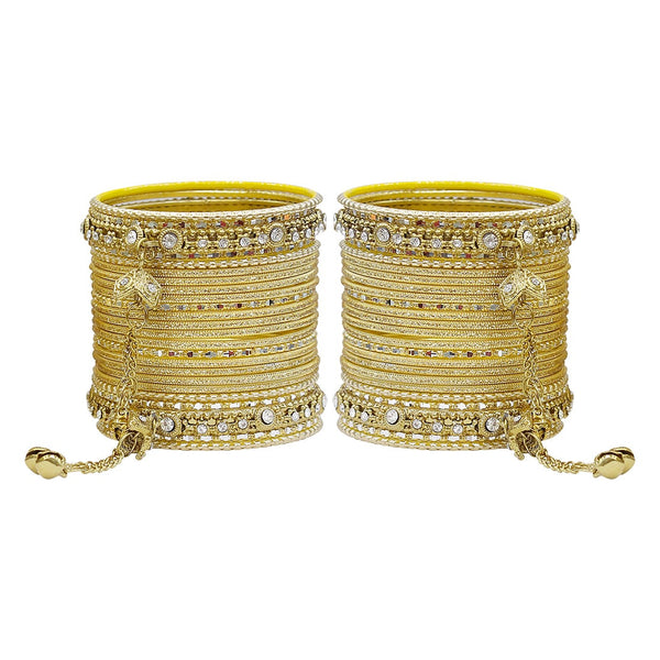 Ghungroo Style Golden Wedding Bangles For Women