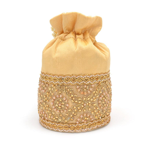 Gold-Toned Embellished Tasselled Potli Clutch With Pearl String