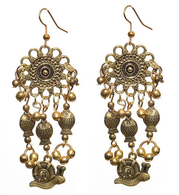 Gold Plated Oxidised Earring