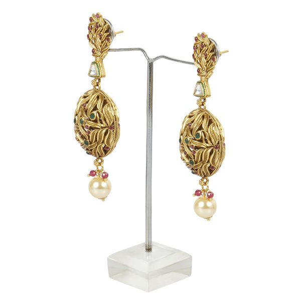 Golden Earrings With Golden Pearls For Women