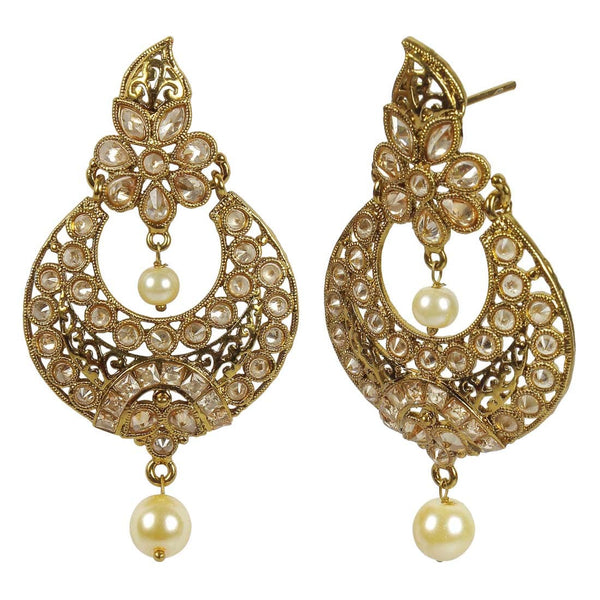 Golden Earrings With Green Pearls For Women