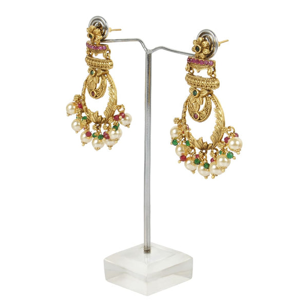 Golden Earrings With White Pearls For Women