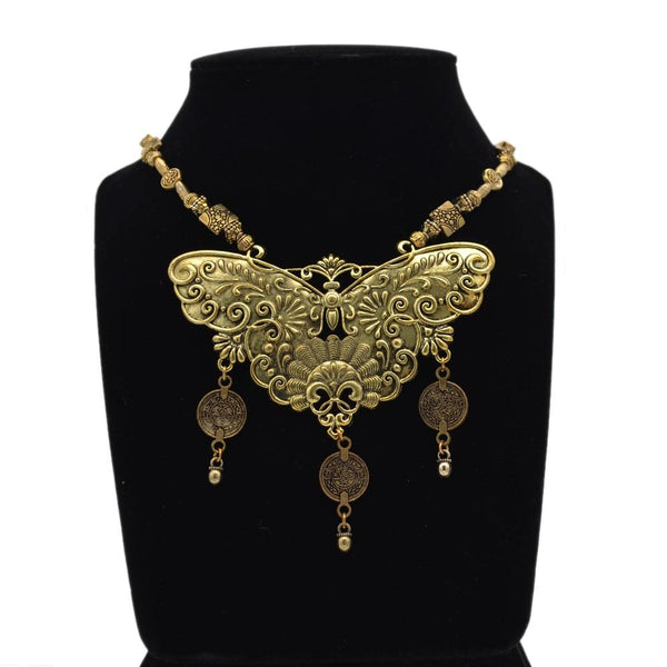 Golden Oxidised Butterfly Necklace