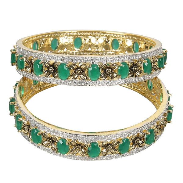 Green Diamond Bangles For Women