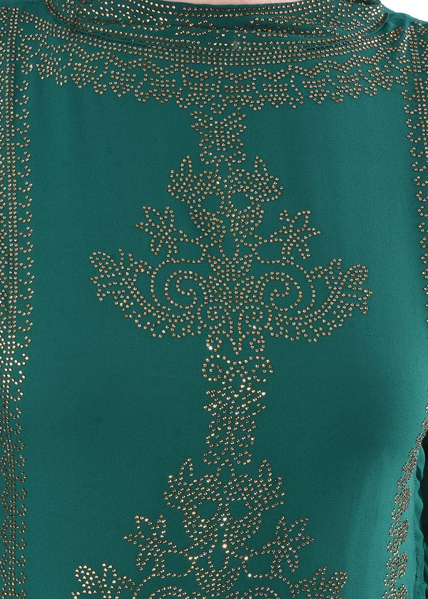 Green Embroidered Fit & Flare Dress