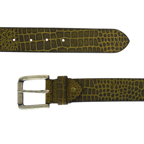 Green Textured Leather Belt