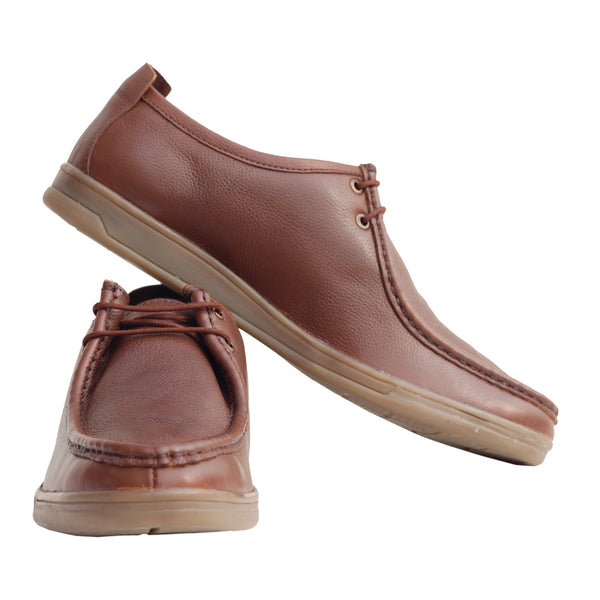 Tan Genuine Leather Derby Shoes
