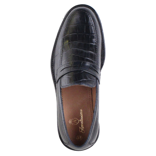Amatissimo Black Tata Calf Full Leather Moccasins