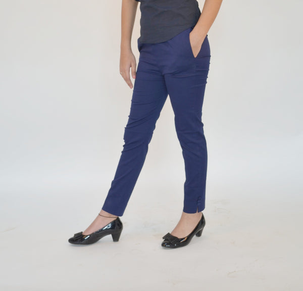 Navy Cotton Straight fit Pants