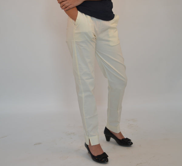 White Straight Fit Cotton Pants