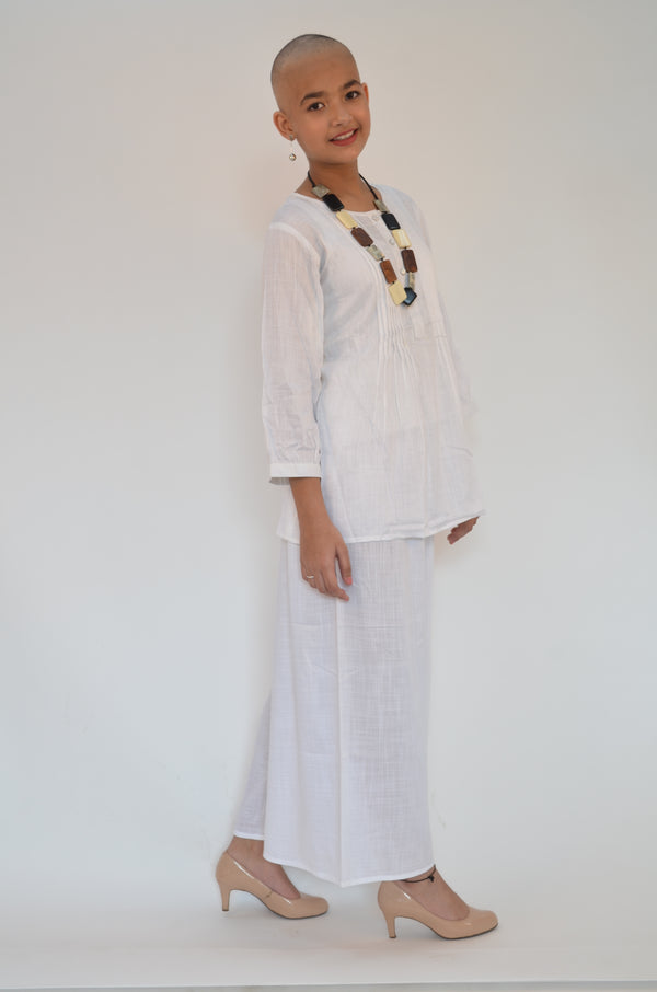 White Cotton Short Kurti with Pintucks