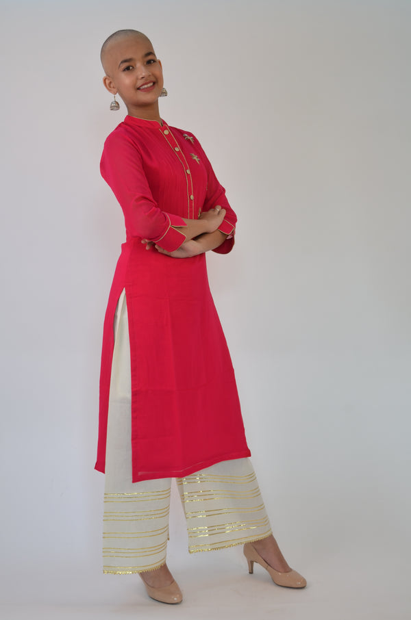 Magenta Pink Georgette Kurti with Gold Embroidery