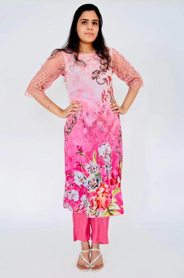 Pink Digital Kurti & Palazzo set with crochet sleeves