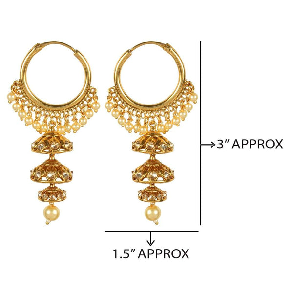 Jhumki Bali Style Earrings Light Weight For Occasionally & Party Wear