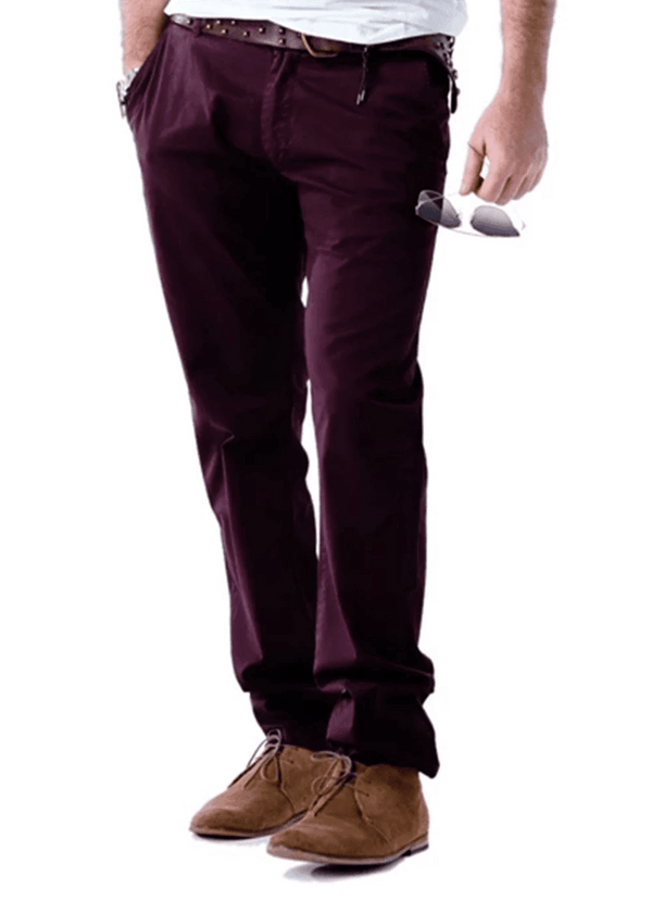 Joe & Baxx Mens Burgundy Slim Fit Trouser