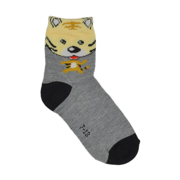 Kids Black & Grey Tiger Above Ankle-Length Cotton Socks