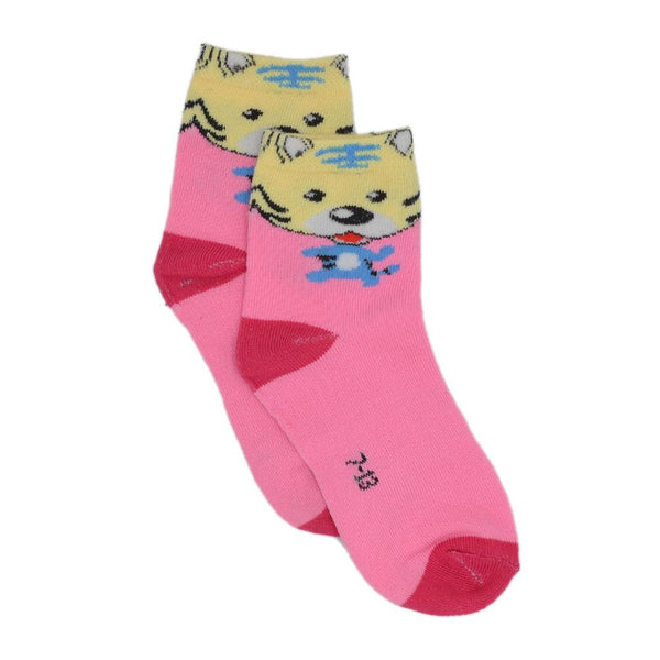 Kids Pink & Red Tiger Above Ankle-Length  Socks