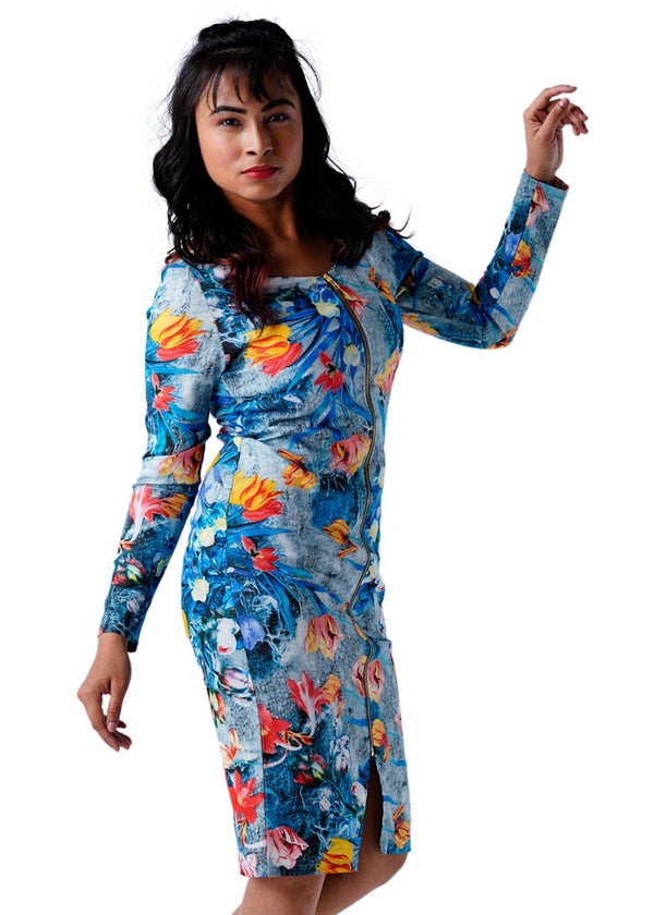 Ladies Full Sleeves Blue Dress