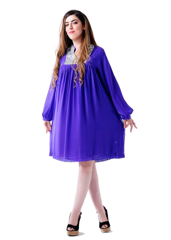 Ladies Longsleeves Regular Fit Dress-Purple