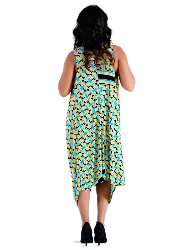 Ladies Regular Fit Printed Dress-Green