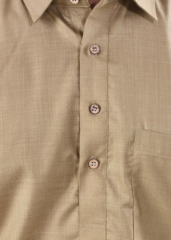 YZBuyer Light Brown Pathani Kurta Set