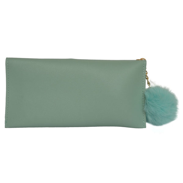 Light Green  Embroidered Leather Women's Wallet