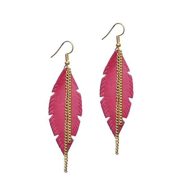 Maroon Golden leaf Earring