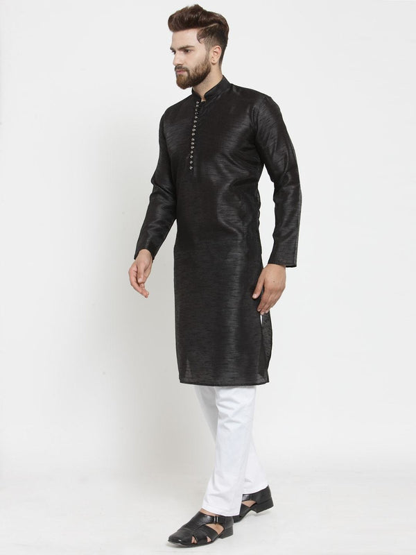 Men Black & White Solid Kurta with Pyjama