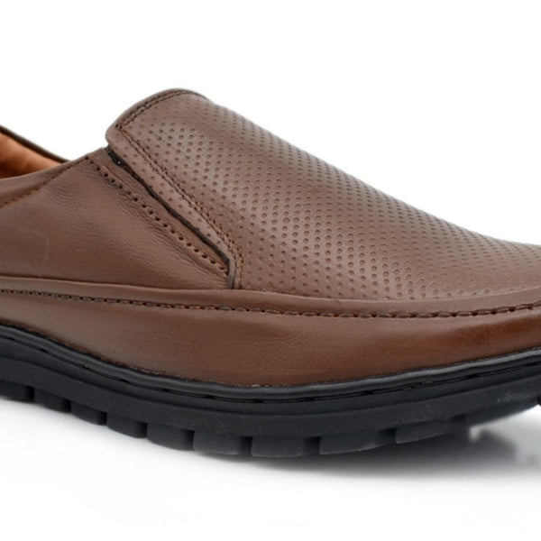 Men Brown Perforated Leather Formal Loafers