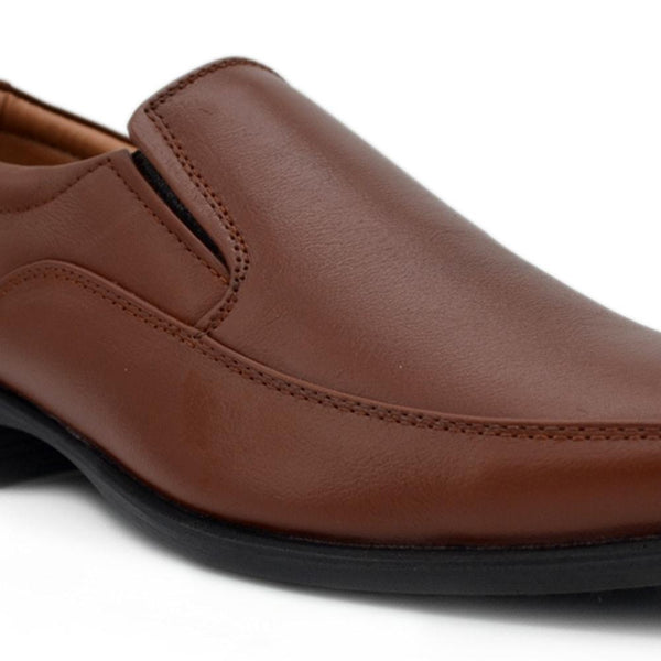 Men Brown Solid Genuine Leather Semiformal Slip-Ons
