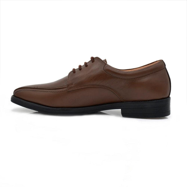 Men Brown Solid Leather Formal Derbys