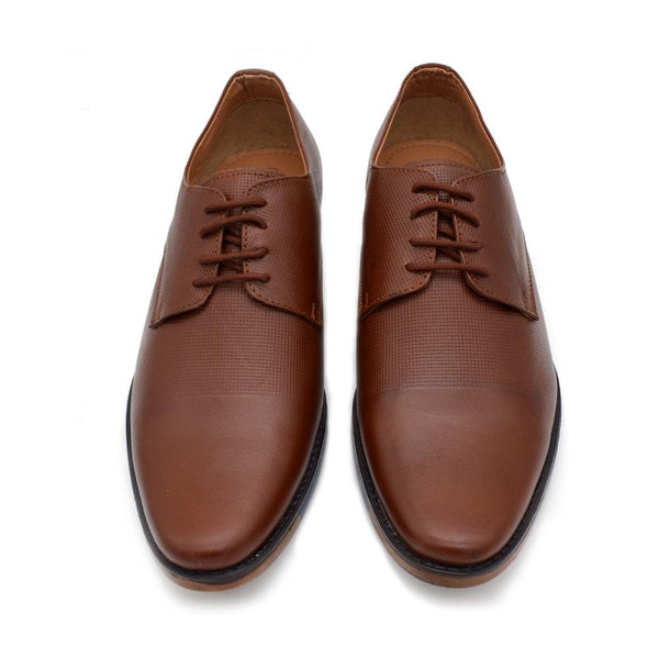 Men Brown Tan Textured Genuine Leather Formal Derbys