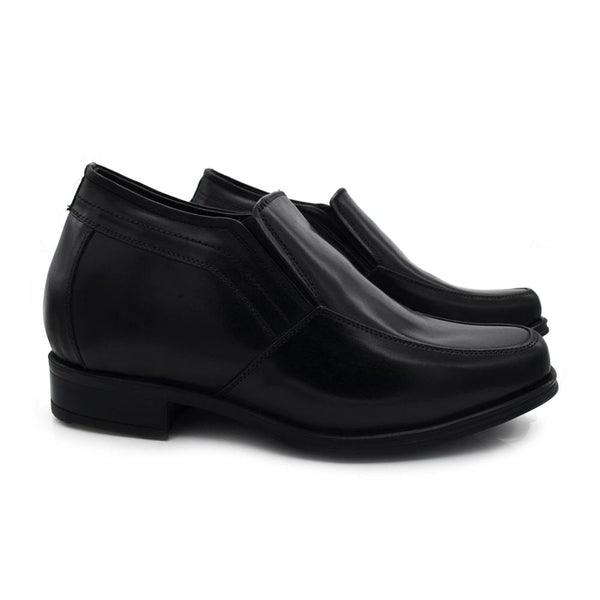 Men Height Increasing Black Leather Elevator Loafers