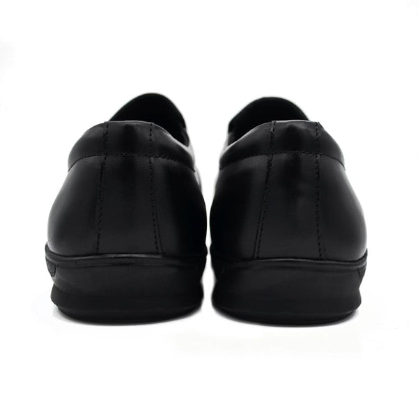 Men Plus Size Black Solid Leather Formal Loafers