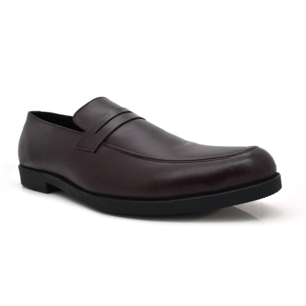 Men Plus Size Brown Solid Leather Formal Penny Loafers