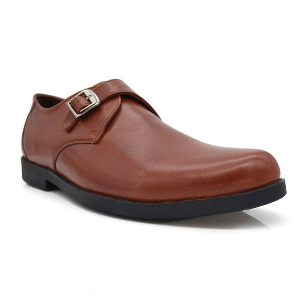 Men Plus Size Brown Tan Leather Single Monk Slip-Ons