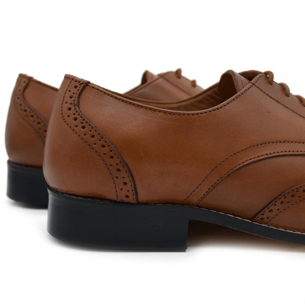 Men Plus Size Tan Brown Leather Formal Brogues