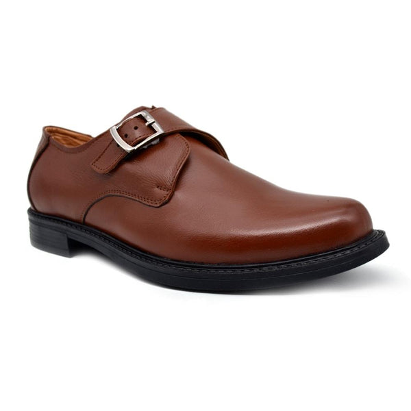 Men Tan Brown Formal Leather Monk Shoes
