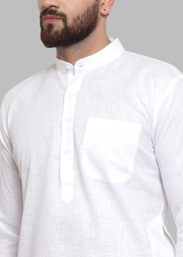 Men White Solid Kurta with Pyjamas