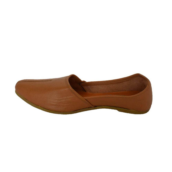 Men's Classic Tan Leather Juttis Shoes