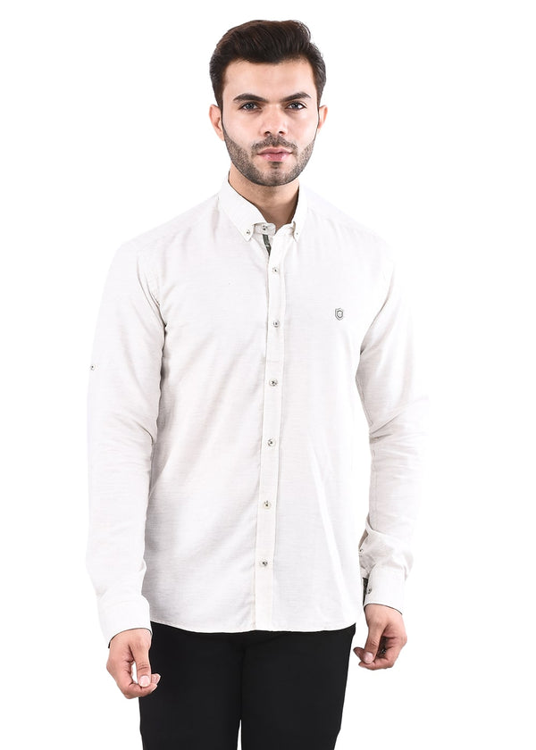 Men's Cream Full  Sleeves Shirt