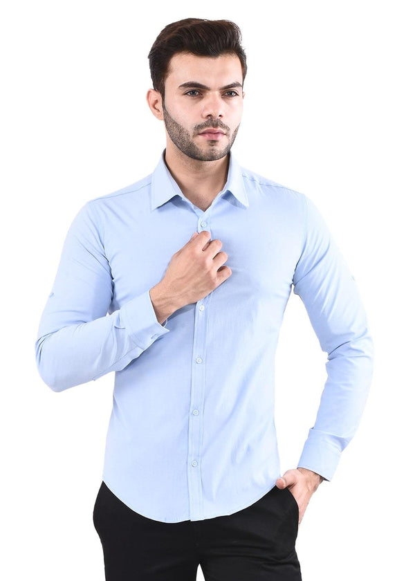 Men's Light Blue Full  Sleeves Shirt