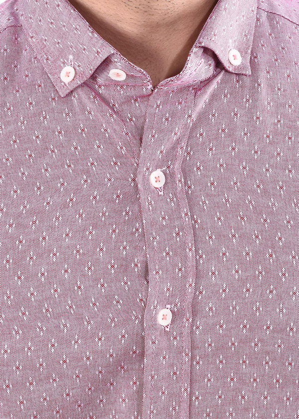 Men's Pink Full  Sleeves Shirt