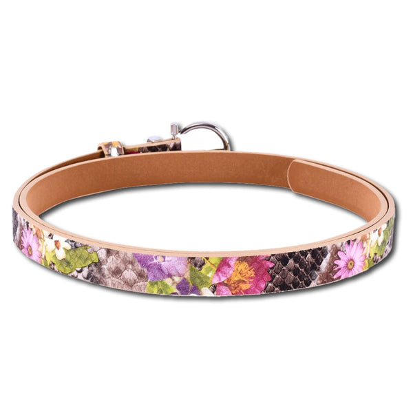 Multi Color Floral Leather Belt