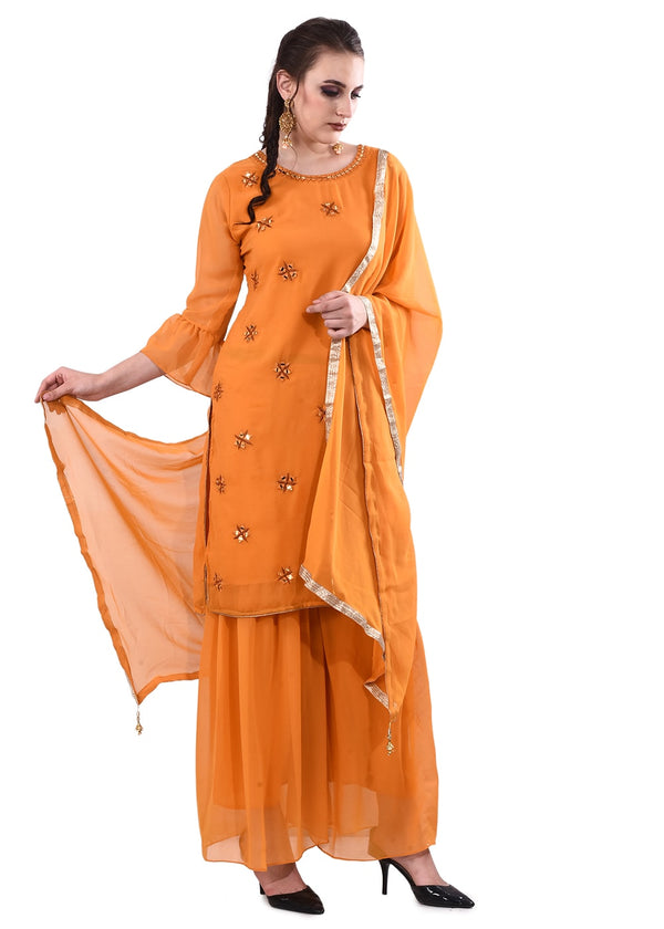 Mustard Yellow Embroidered Kurti with Palazzo & Dupatta