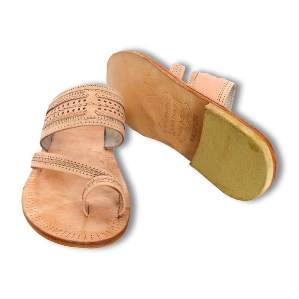 Men Beige Leather Kolhapuri Sandals