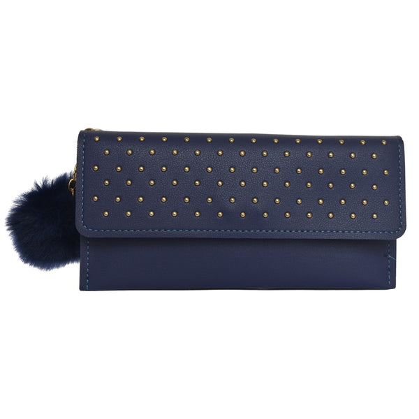Navy Embroidered Leather Women's Wallet