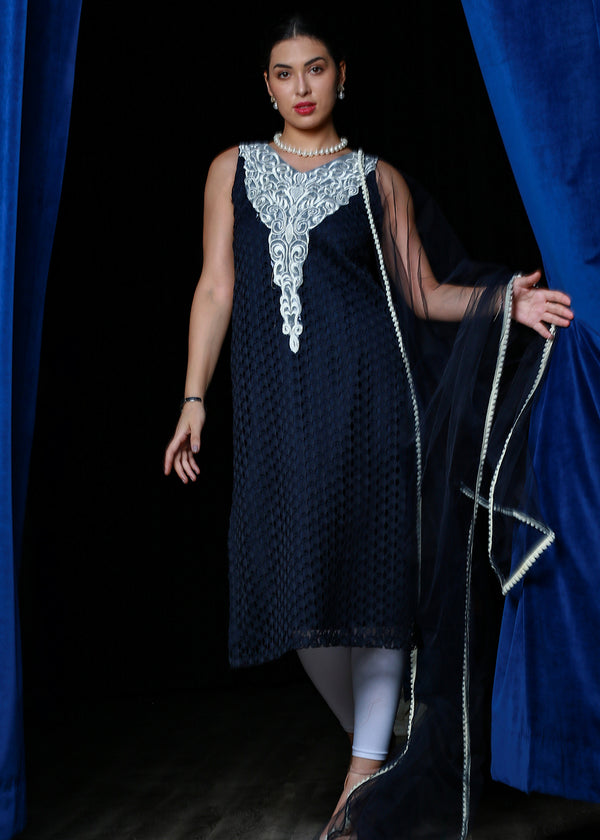 Navy Blue Designer Chikan Kurti With Lace Patch Work & Dupatta
